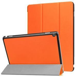 Trifold polohovatelné PU kožené pouzdro na Huawei MediaPad M3 Lite 10 - oranžové - 1