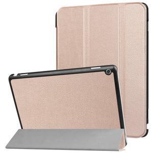 Trifold polohovatelné PU kožené pouzdro na Huawei MediaPad M3 Lite 10 - zlatorůžové - 1