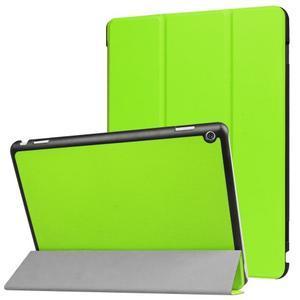 Trifold polohovatelné PU kožené pouzdro na Huawei MediaPad M3 Lite 10 - zelené - 1