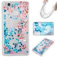 Glitter přesýpací gelový obal na mobil Huawei P9 Lite - květiny - 1/2