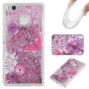 Glitter přesýpací gelový obal na mobil Huawei P9 Lite - motýlci - 1