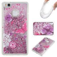 Glitter přesýpací gelový obal na mobil Huawei P9 Lite - motýlci - 1/2