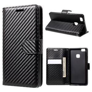 Carbon PU kožené pouzdro na Huawei P9 Lite - černé - 1