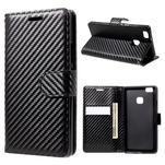 Carbon PU kožené pouzdro na Huawei P9 Lite - černé - 1/5