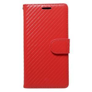 Carbon PU kožené pouzdro na Huawei P9 Lite - červené - 1