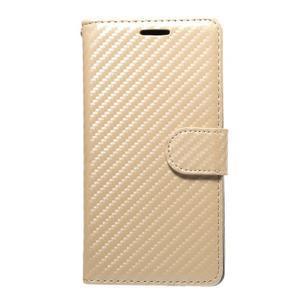 Carbon PU kožené pouzdro na Huawei P9 Lite - zlaté - 1