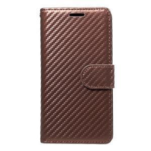 Carbon PU kožené pouzdro na Huawei P9 Lite - hnědé - 1