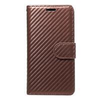 Carbon PU kožené pouzdro na Huawei P9 Lite - hnědé - 1/4