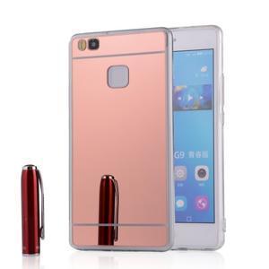 Zrcadlový gelový obal na Huawei P9 Lite - rosegold - 1
