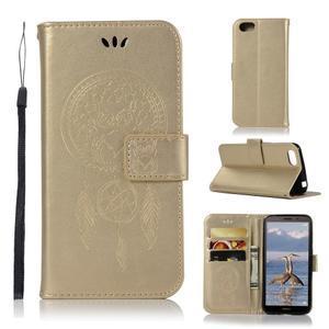 Dream PU kožené peněženkové pouzdro na mobil Huawei Y5 (2018) - zlaté - 1