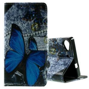 Peněženkové PU kožené pouzdro Lenovo Vibe X2 - modrý motýl - 1