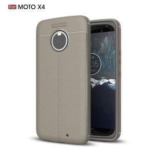 Litchi odolný gelový obal s texturovanými zády na Lenovo Moto X4 - šedý - 1