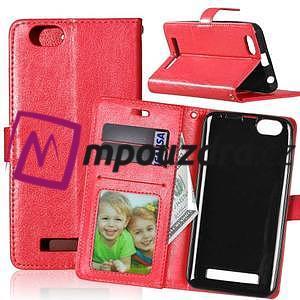Fashion PU kožené pouzdro na mobil Lenovo Vibe C A2020 - červené - 1