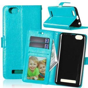 Fashion PU kožené pouzdro na mobil Lenovo Vibe C A2020 - modré - 1