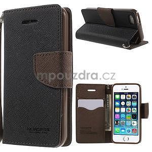 Dvoubarevné peněženkové pouzdro na iPhone 5 a 5s - černé/hnědé - 1