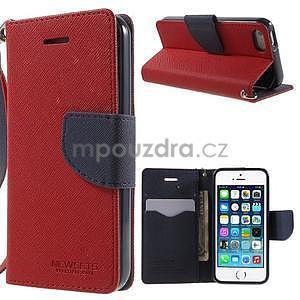 Dvoubarevné peněženkové pouzdro na iPhone 5 a 5s - červené/tmavěmodré - 1