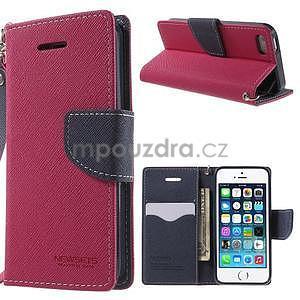 Dvoubarevné peněženkové pouzdro na iPhone 5 a 5s - rose/tmavěmodré - 1