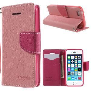 Dvoubarevné peněženkové pouzdro na iPhone 5 a 5s - růžové/rose - 1