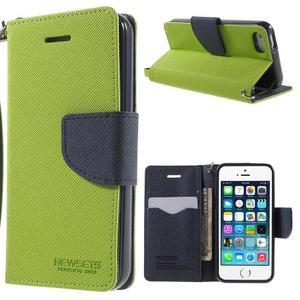 Dvoubarevné peněženkové pouzdro na iPhone 5 a 5s - zelené/tmavěmodré - 1