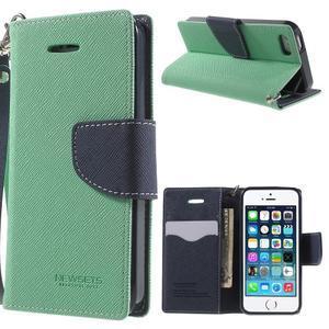 Dvoubarevné peněženkové pouzdro na iPhone 5 a 5s - azurové/tmavěmodré - 1