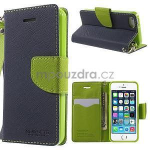 Dvoubarevné peněženkové pouzdro na iPhone 5 a 5s - tmavěmodré/zelené - 1