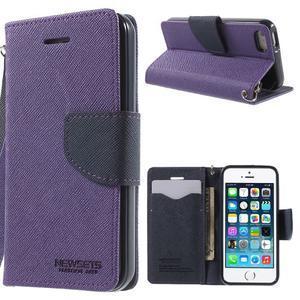 Dvoubarevné peněženkové pouzdro na iPhone 5 a 5s - fialové/tmavěmodré - 1