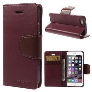 Peněženkové koženkové pouzdro na iPhone 5s a iPhone 5 - vínové - 1
