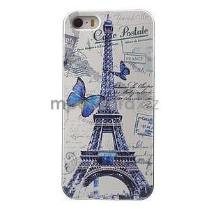 Gelové pouzdro na iPhone 5 a 5s - Eiffelova věž a motýlci - 1