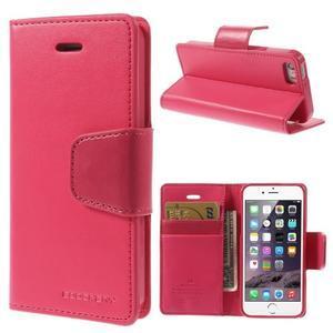Dvoubarevné peněženkové pouzdro na iPhone 5 a 5s - rose/růžové - 1