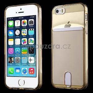 Ultra tenký obal s kapsičkou pro iPhone 5 a 5s - champagne - 1