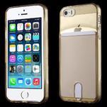 Ultra tenký obal s kapsičkou pro iPhone 5 a 5s - champagne - 1/6
