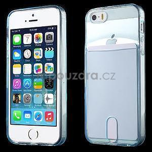 Ultra tenký obal s kapsičkou pro iPhone 5 a 5s - modrý - 1