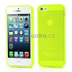Gelový transparentní obal na iPhone 5 a 5s - zářivě žlutý - 1