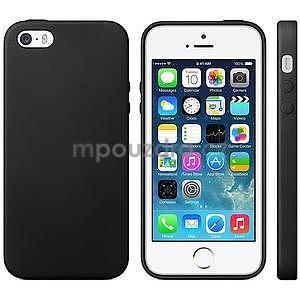 Gélový obal s textúrou na iPhone 5 a 5s - čierny - 1