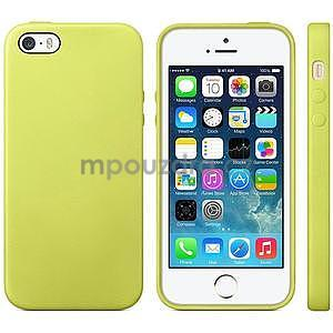 Gelový obal s texturou na iPhone 5 a 5s - žlutozelený - 1