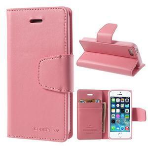 Peněženkové koženkové pouzdro na iPhone 5s a iPhone 5 - růžové - 1