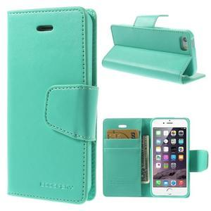 Peněženkové koženkové pouzdro na iPhone 5s a iPhone 5 - azurové - 1