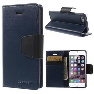 Peněženkové koženkové pouzdro na iPhone 5s a iPhone 5 - tmavěmodré - 1