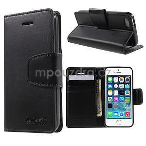 Peněženkové koženkové pouzdro na iPhone 5 a iPhone 5s - černé - 1