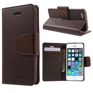 Peněženkové koženkové pouzdro na iPhone 5 a iPhone 5s - tmavěhnědé - 1