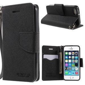 Dvoubarevné peněženkové pouzdro na iPhone 5 a 5s - černé/ černé - 1