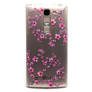 Průhledný gelový obal na LG G4c - švestkové květy - 1