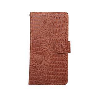 Crocodile PU kožené výsuvné univerzálne puzdro na telefóny do rozmeru 14,5 x 7,5 x1,8 cm - hnedé - 1