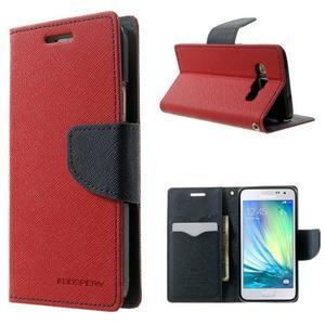 Diary PU kožené pouzdro na Samsung Galaxy A3 - červené - 1