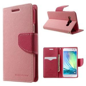 Diary PU kožené pouzdro na Samsung Galaxy A3 - růžové - 1