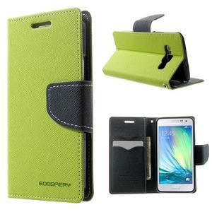 Diary PU kožené pouzdro na Samsung Galaxy A3 - zelené - 1