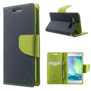 Diary PU kožené pouzdro na Samsung Galaxy A3 - tmavěmodré - 1