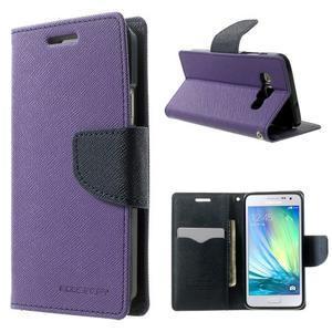 Diary PU kožené pouzdro na Samsung Galaxy A3 - fialové - 1