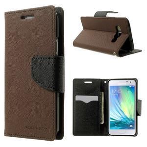 Diary PU kožené pouzdro na Samsung Galaxy A3 - hnědé - 1