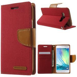 Luxury textilní/koženkové pouzdro na Samsung Galaxy A3 - červené - 1